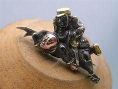 Antique Japanese Shakudo Gold Silver Copper Warrior Pin Brooch