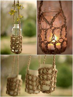 Rustic twine crochet mason jar hangers: