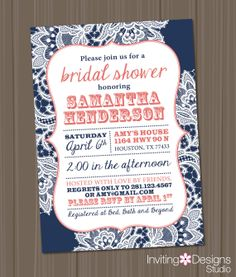 Coral and blue wedding google search corals pinterest bridal shower invitation lace coral navy blue rustic chic customize filmwisefo Image collections
