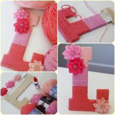 manualidades/letras divertidas con lana y carton