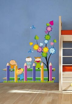 Kids School Fence Playing Nature Children – Full Color Wall Decal Vinyl Decor Art Sticker Removable Mural Modern - New Sites Vinyl Decor, Vinyl Wall Decals, Wall Stickers, Sticker Vinyl, School Board Decoration, Class Decoration, School Decorations, Wall Decorations, School Murals