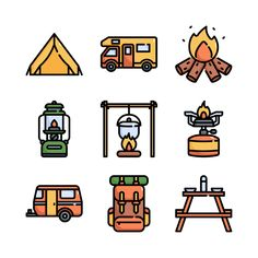 30 premium vector icons of Camping designed by Konkapp