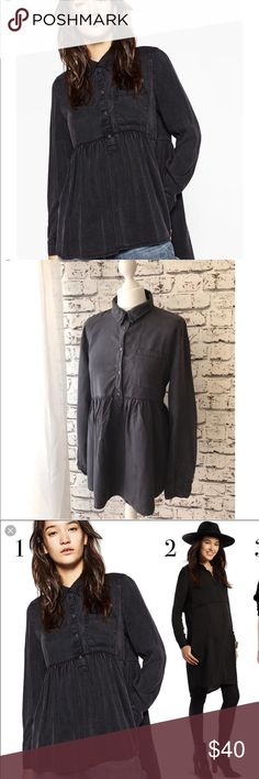 Zara baby doll shirt Brand new with tags** dark gray or washed black color. Looks very close to my pictures. Size small. Relaxed fit . Super adorable babydoll style shirt. Comfy and flattering . Zara Tops