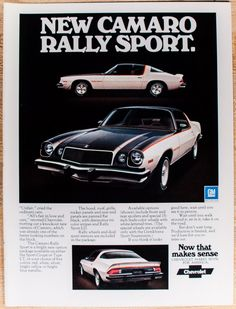 A personal favorite from my Etsy shop https://www.etsy.com/listing/467912421/chevy-camaro-rally-sport-ad-from-1975