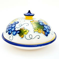 Large round ceramic butter dish hand painted with grape on a white background. Click on the image to learn more about this beautiful butter dish and the other available pattern.