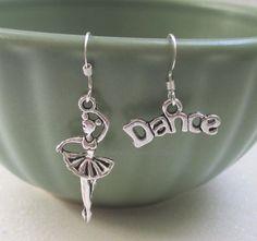 #PrimaBallerina sterling silver french wire dangle #dance #earrings by Heysista.etsy.com $10 #DanceRecitalGift #DanceGift #Ballerina #jewelry #etsy
