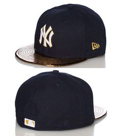 NEW ERA New York Yankees fitted cap Embroidered team logo on front Golden metallic snake print brim Gold NEW ERA stitching on side