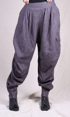 Women cotton linen pants - Buykud