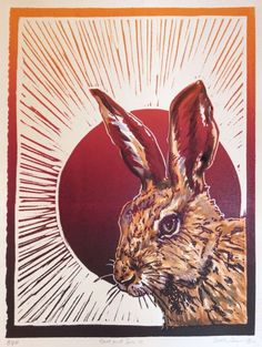 ARTFINDER: Hare &Sun 3 by Sarah Cemmick - Hare & Sun 3 is part of a tryptic study of hare heads. A three colour inking Lino print with watercolour tinting.  The block has been inked in deep yellow, ...