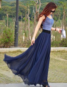 Chiffon Maxi Skirt-Spring Long Skirt Maxi Dress Women Silk Skirt Summer Beach Skirt In Dark Blue-WH103 ,105cm