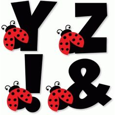 Silhouette Design Store: Ladybug Alphabet - Y Z ! Baby Ladybug, Ladybug Party, Alphabet Templates, Alphabet Crafts, Scrapbook Letters, Class Decoration, Alphabet And Numbers, Silhouette Design, Paper Flowers