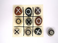Tic Tac Toe game Beach Pebbles with Magnets by door HappyEmotions