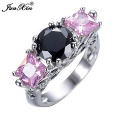 JUNXIN Pink Rings White Gold Filled Jewelry Multicolor Natural Stone Vintage