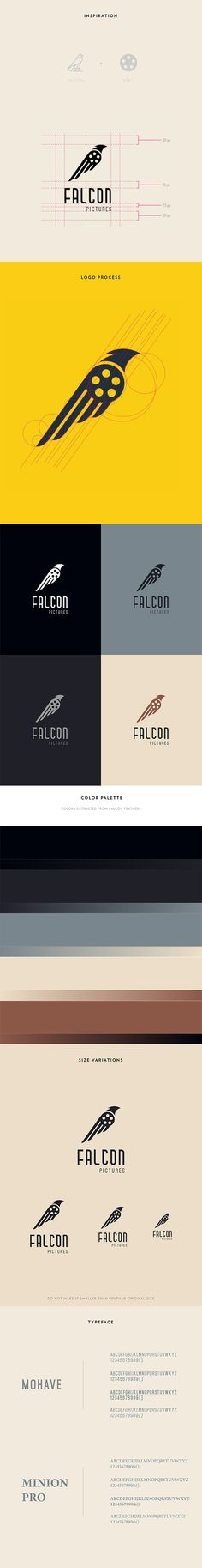 Falcon Pictures Logo Design by Grunz Saint / animal. I picked this design because I enjoyed the different take on the bird and I enjoyed the design of the wings. Coperate Design, Design Logo, Branding Design, Label Design, Typography Logo, Logo Branding, Typography Design, Lettering, 3 Logo