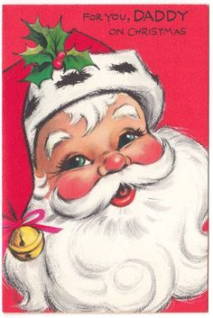 Vintage greeting card christmas santa claus silver gilt as is classic 50s m4hsunfo