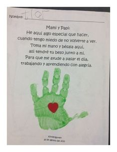 This is the Spanish version of the Kissing Hand poem. Have students stamp their handprints with an inkpad or tempera paint, and then glue a heart. Kissing Hand Poem, Kissing Hand Crafts, Kissing Hand Activities, First Day Activities, Kindergarten First Day, Kindergarten Lessons, Kindergarten Writing, Bilingual Classroom, Bilingual Education