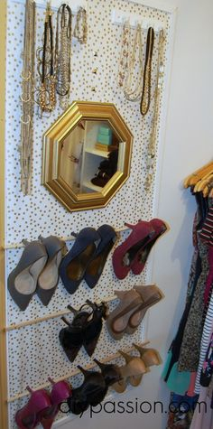 Framed Fabric Shoe Organizer: Now this is a clever idea!