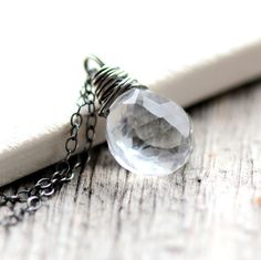 April Birthstone Diamond Faceted Quartz Necklace on Sterling Silver Chain - Looking Glass - Spring Fashion Birthstone Jewelry