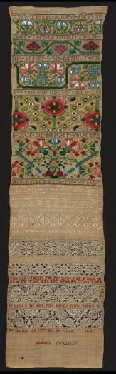 """English Sampler, 1687, Hannah Culleup,  83 x 42.5 cm (32 11/16 x 16 3/4 in.)  Linen plain weave embroidered with silk and linen. Band sampler of linen plain weave embroidered with polychrome silk floral bands in Montenegrin cross, satin, double running, and basket stitches; geometric bands in linen satin stitch, drawn work, and reticella bands; embroidered """"Hannah Culleup"""" at bottom, with religious verses throughout.  (There are some nice close up pics on the MFA site)"""
