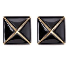 Kenneth Jay Lane Enamel pyramid clip earrings (530 NOK) ❤ liked on Polyvore featuring jewelry, earrings, black, black earrings, art deco earrings, black pyramid earrings, kohl jewelry and enamel earrings