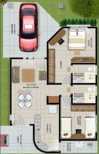 plano de casa de 94 metros cuadrados y dos dormitorios
