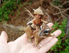 doll by Michelle Bradshaw | chipmunk fairy art doll - miniature sculpture by Michelle Bradshaw ...
