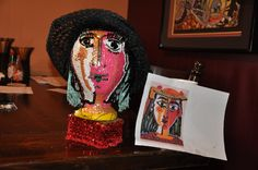 My Original Head Art. My Picasso, Your Picasso. I created her after being inspired by viewing Picasso's work, on the web of course! The photo on the right is a copy of Picasso's, Lady with  HAT! This one is for sale $ 350.00