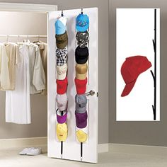 Cap Rack (Set Of 2) - Make use of typically wasted space for storage, and display your collection of Ball Caps! Clips at the top and bottom hook over any standard size door, or can be wall-mounted for display with included hardware. Each rack has 8 adjustable flex hooks; each holds up to 8lbs. Product Number: CN6426 $16.98 CAD www.davidblum.shopregal.ca/PWS/Products/ProductDetails.aspx?prodid=13166&cid=15005&pid=150