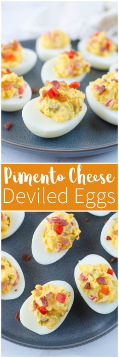 Bacon Pimento Cheese Deviled Eggs - classic deviled egg filling mixed with crispy bacon, cheddar cheese, and pimentos. So delicious and the perfect way to use all those Easter eggs! Best Appetizer Recipes, Holiday Appetizers, Bacon Recipes, Yummy Appetizers, Snack Recipes, Party Appetizers, Coleslaw Recipes, Easter Recipes, Party Snacks