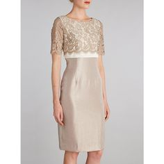 Buy Gina Bacconi Scallop Floral Lace Shimmer Dress, Oyster, 10 Online at johnlewis.com