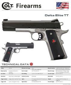 Colt's Manufacturing Company - Delta Elite TT Spy Weapons, Armas Airsoft, Muzzle Velocity, Weapon Of Mass Destruction, Custom Guns, Military Guns, Guns And Ammo, Firearms, Hand Guns