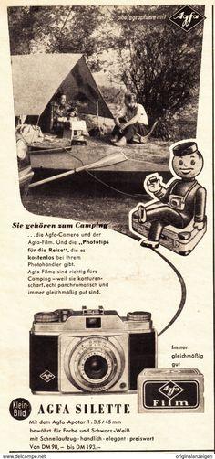 Werbung - Original-Werbung/ Anzeige 1955 - AGFA SILETTE KAMERA - ca. 115 x 240 mm