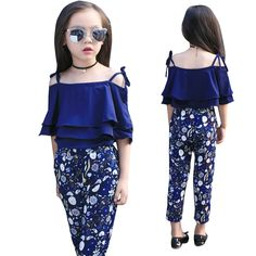 Girls Clothing Sets Layered Vest T-Shirts & Floral Pants Summer 2017 Girls Outfits 2 Years Children Clothing 4 Girls Winter Outfits, Girls Winter Fashion, Baby Girl Fashion, Kids Fashion, Outfits Niños, Kids Outfits, Newborn Outfits, Little Girl Dresses, Girls Dresses