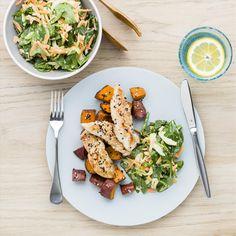 My Food Bag - Nadia Lim - Recipes - Lemon Garlic Chicken with Sesame Kumara and Carrot Slaw Healthy Side Dishes, Easy Healthy Breakfast, Healthy Eating Recipes, Healthy Snacks For Kids, Yummy Snacks, Healthy Food, Healthy Dinners, Healthy Smoothies, Delicious Recipes
