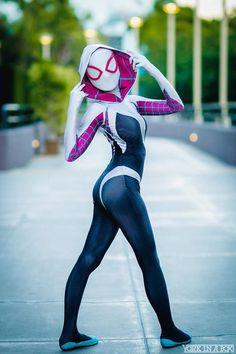 Gwen Stacy Spider-Gwen Lycra Zentai Cosplay Costume w/ Attached Hood, Mask/Lens Cosplay Anime, Cosplay Marvel, Superhero Cosplay, Spiderman Cosplay, Gwen Stacy, Gwen Spider, Spider Gwen Cosplay, Spider Girl Costume, Spider Spider