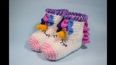 46 ideas for crochet bebe unicornio Baby Girl Crochet, Crochet Baby Shoes, Crochet Slippers, Crochet For Kids, Crochet Horse, Crochet Unicorn, Crochet Gifts, Crochet Yarn, Crochet Headband Pattern
