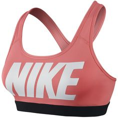 Nike Pro Bra ($40) ❤ liked on Polyvore featuring activewear, sports bras, shoes, sunblush white black logo, women, womens clothing, nike sportswear, nike activewear, nike and racerback sports bra