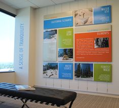 Sales office display featuring Click Rail System from AS Hanging Systems. Corporate Office Design, Office Wall Design, Office Branding, Corporate Branding, Corporate Offices, Branding Ideas, Office Artwork, Office Wall Art, Office Walls