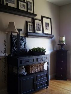 Beautifully done!  I have two similar shelves with frames on them in our living room right next to our dining room.