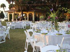Powel Crosley Outdoor Wedding Reception facing the Sarasota Bay. White and Orchid wedding.