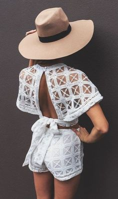 White lace suit - shorts and open back top in combination with hat create fabulous summer look My granddaughter would look awesome in this ! Estilo Fashion, Look Fashion, Womens Fashion, Net Fashion, Fashion Killa, Dress Fashion, Mode Shorts, Mode Lookbook, Fashion Vestidos