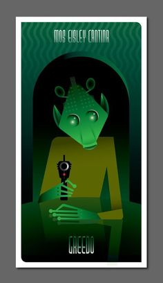 Greedo from Mos Eisley Cantina poster by Hungarian artist and illustrator Szoki. via geek art