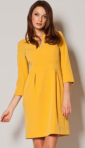 Look at this Yellow Three-Quarter Sleeve Notch Neck Dress - Women Midi Dress With Slit, Dress Outfits, Fashion Dresses, Women's Fashion, Fall Bridesmaid Dresses, Robes Midi, Mini Robes, Dresses For Less, Mannequin