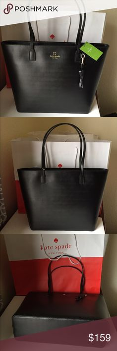 """Kate Spade TORI Sawyer Street Zip Tote BLACK Kate Spade TORI Sawyer Street Zip Tote BLACK  ·         11.5""""h x 12.2""""w x 4.1""""d ·         drop length: 8.7"""" MATERIAL ·         smooth leather ·         capital kate jacquard lining ·         14-karat light gold plated hardware ·         style # wkru3985 DETAILS ·         tote with zipper closure ·         removeable bow keyfob ·         dual interior slide pockets and zip pocket ·          Kate Spade MSRP $279 Brand New with Tags! Price is firm…"""