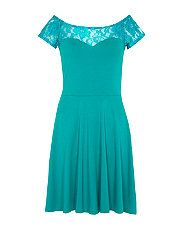 Jade (Green) Green Lace Bardot Neck Skater Dress | 303281732 | New Look