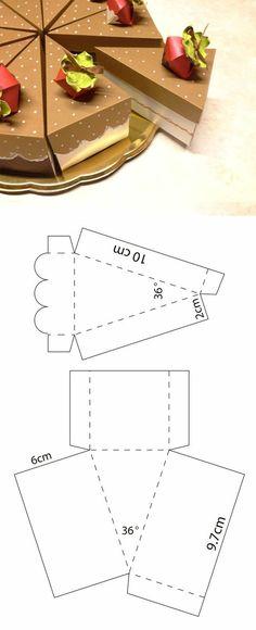 Diy Geschenk Basteln - Caja en forma de rebanadas de patel Descarga la plantilla del sitio we. Diy Gift Box Template, Paper Box Template, Box Templates, Paper Gifts, Diy Paper, Paper Cake, Diy Box, Diy Gifts, Gift Wrapping