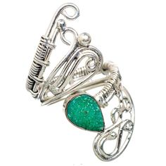 Ana Silver Co Green Quartz Druzy 925 Sterling Silver Ring Size 5 Adjustable RING825091