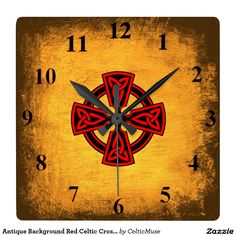 Celtic Cross Square Wall Clock