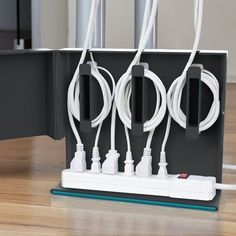 Plug Hub - Your Desk, Untangled. Keep your cords clean and concealed with Plug Hub, an under-desk cord management station that hides your power strip and cords in one discreet unit. Ideas Para Organizar, Cord Management, Cable Organizer, Homekeeping, Hidden Storage, Cord Storage, Office Organization, Organized Office, Spring Cleaning