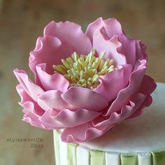 Gumpaste Pink Peony medium by StyleSweetCAShop on Etsy, $30.00
